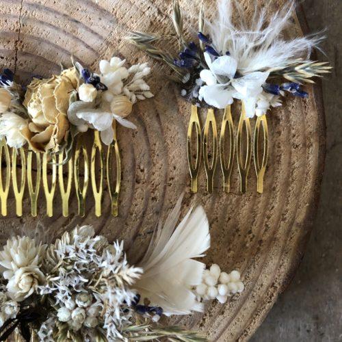 Peigne en fleurs séchées